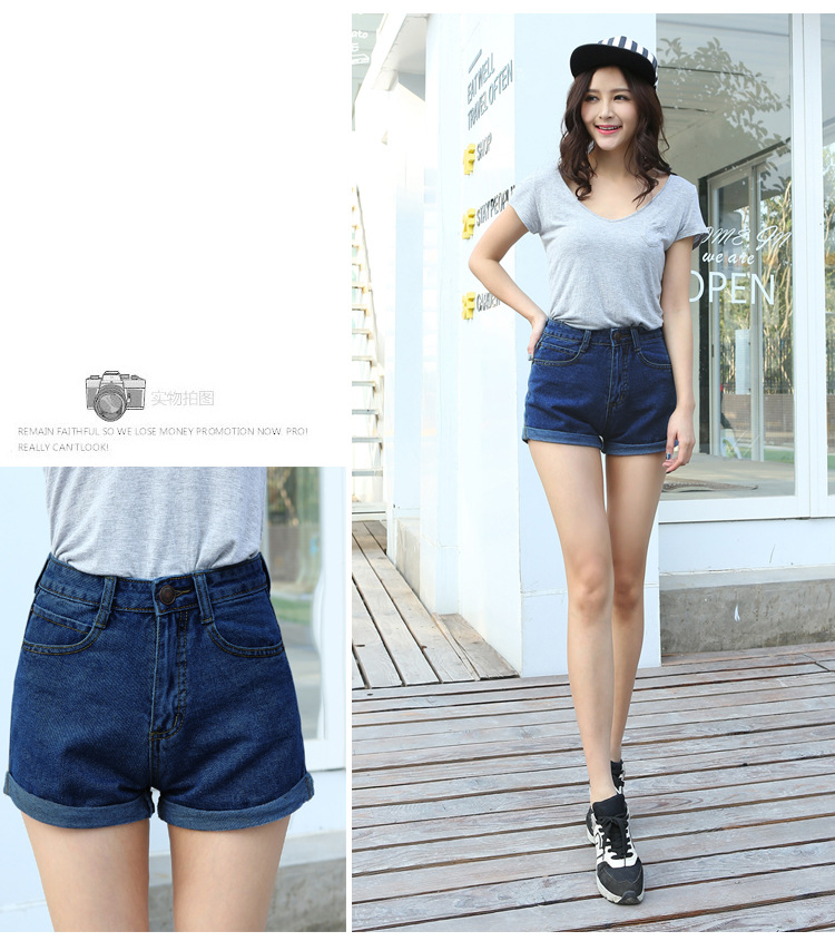 Blue Crimping Denim Jeans Shorts For Women 57