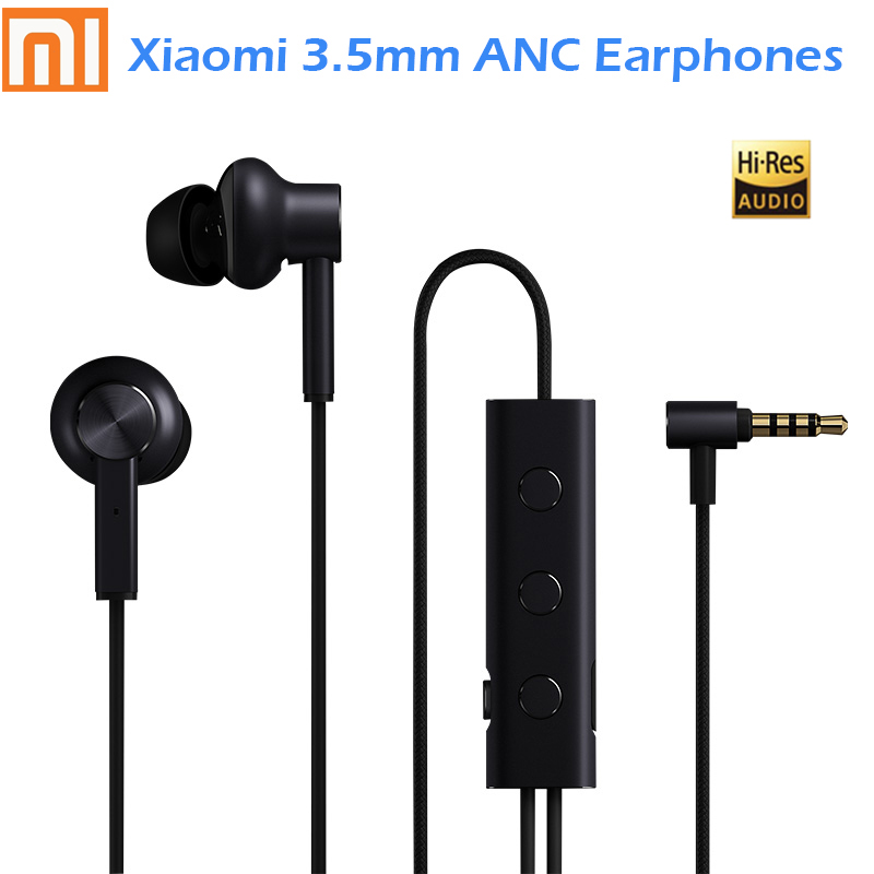 Original Xiaomi 3.5 ANC Earphones Hybrid 3 Unit 2 Grade Noise Cancel 6 Serie Al-Alloy Braid Wire Metal Clamp L Plug Hi-Res