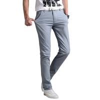 Spring Summer Man Classic Straight Business Slim Fit Casual Pants High Elasticity Cotton Fashion Khaki Skinny