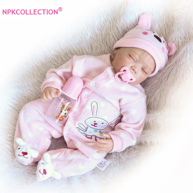 22 inch Soft Reborn Baby Girl Doll Juguetes Lifelike and Realistic Pink Sleeping Girl Dolls of Birthday Gift Christmas Gift free shipping christmas gift girl birthday gift toys 22 joints original doll brand dolls geninue doll accessories for barbie