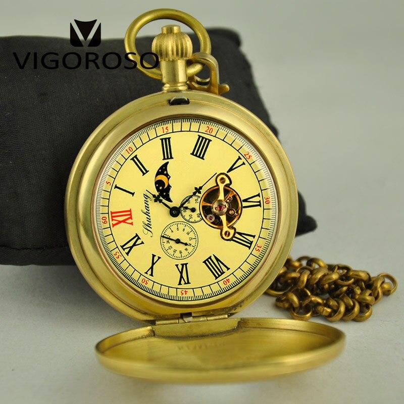 Retro Antieke Vintage Zuiver Koper Mechanische Zakhorloge Dubbele Hunter Tourbillon Zakhorloge reloj Fob Horloge Luxe Mannen W/ doos-in Zakken & Zakhorloges van Horloges op  Groep 2