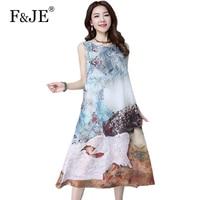 F JE 2018 New Arts Style Summer Tank Dress High Quality 3D Print Vintage Long Dress