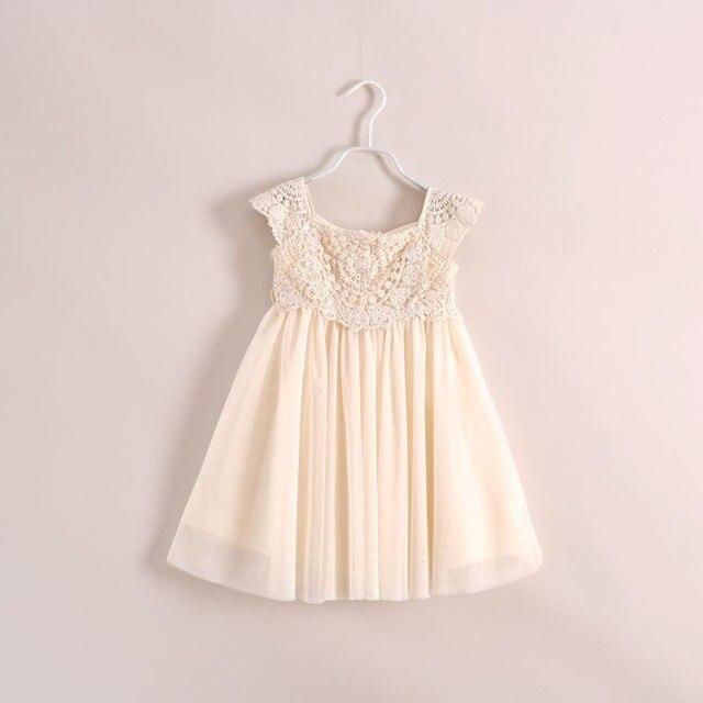 24c97deb1ade Lace And Chiffon Girls Summer Pattern Dress Baby Beige Clothing 6pcs lot  Free Shipping