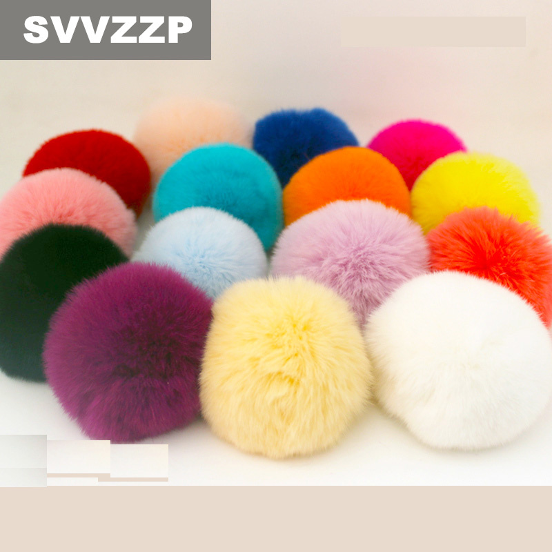 8CM Faux Fur PomPom DIY KeyChain Rabbit Hair Bulb Bag pom pom Ball key chain Pendant poret clef for DIY pom pom ball applique rabbit print pullover