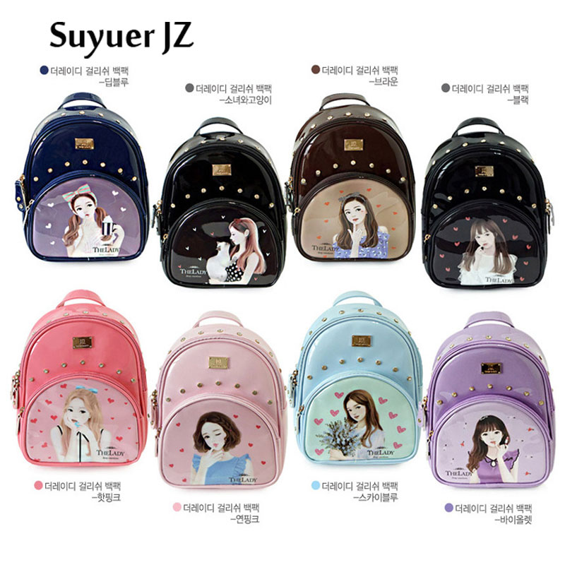 Suyuer Brand Bag 2017 Women Korean Style Ladies Backpack Fashion Preppy Style Rivet Schoolbag Beauty Pattern