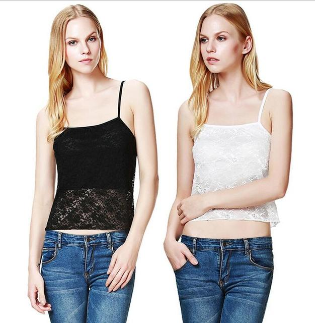 161679952d2 Sexy Women Ladies Summer Tops Lace Crochet Perspective Camisole Vest Sexy  Slim Cropped Tops Black White Lace Bustier Tank Camis