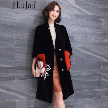 Ptslan Women  Sheep Fur Coat Fox Fur Collar  Fashion Women Wool Coat Long Sheep fur Beautiful Women's Coat