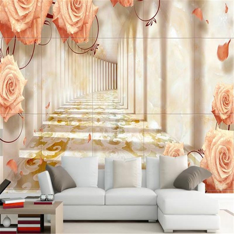 3D Stereoscopic Custom Photo Wallpapers Luxury Gold Flowers Wallpaper European Style Murals Rose Florals Living Room Bedroom custom continental ceiling murals living room bedroom embossed 3d wallpaper 3d stereoscopic 3d wallpaper peacock feathers zenith