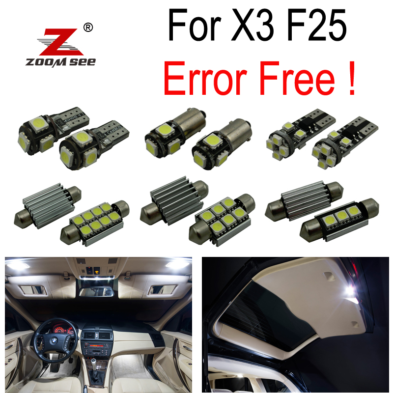 21pc X Canbus Error Free LED Lamp Interior map dome roof Light Kit for BMW X3 F25 (2011+) 15pc x 100% canbus led lamp interior map dome reading light kit package for audi a4 s4 b8 saloon sedan only 2009 2015