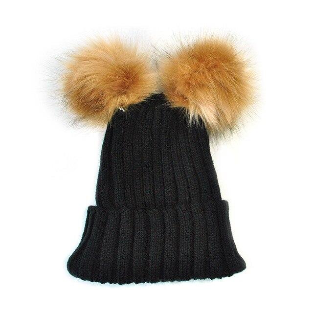 Faroonee 2018 New Arrival Mom&Baby Cap Double Fur Ball Cap Pom Winter Warm Hat Women Girl Boys Knitted Beanies Cap Crochet Hat