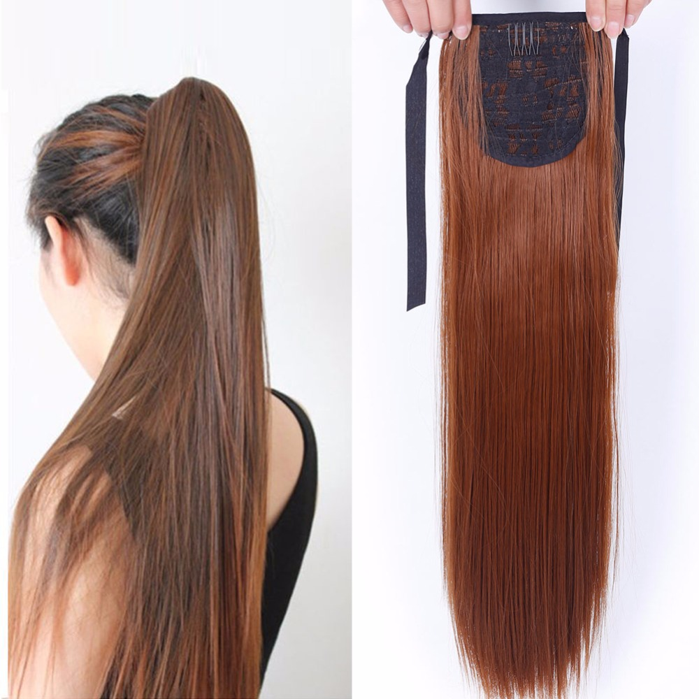 AOSIWIG Heat Resistant Synthetic Fiber 22 55cm Straight Ribbon Ponytail Extensions 12 Colors Available ...