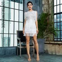 Love&Lemonade White Round Neck Lace Fringed Decorative Dot Mesh Party Dress LM81272