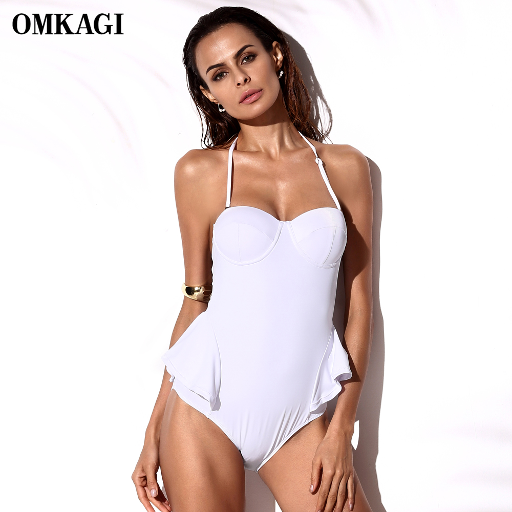OMKAGI Sexy One Piece Swimsuit Swimwear Bodysuit Push Up Bathing Suit Women Monokini Maillot De Bain Femme Swim Suit Swim Wear sexy women one piece swimsuit push up bikini mayo bandage ties monokini swimsuit bathing suit swimwear maillot de bain femme