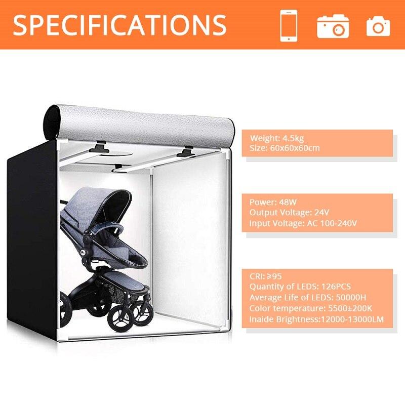 Caja de luz Travor 60*60CM caja de luz portátil Studio Photo LED Lightbox con 3 colores de fondo para fotografía de mesa luces LED - 2