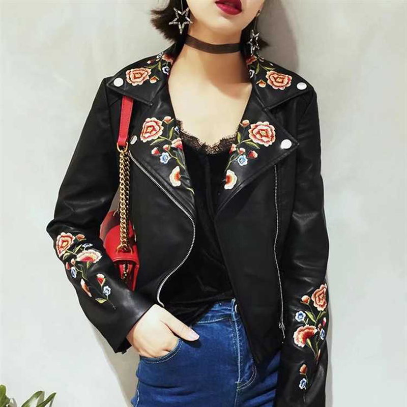 Kenntrice Brand Quality Vintage Flower Woman Jacket Fashion Embroidery Pink Faux Leather Jackets Lady