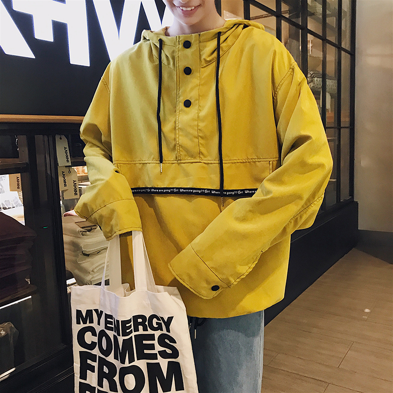 a203a0ff76e 2018 Spring Fashion Tide Korean Version Youth Style Men s Hat Leisure  Casual Jacket Loose Beige Black Yellow Coat Size M-XL