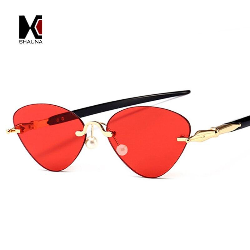 SHAUNA Plume Acérée Jambes Femmes Sans Monture Cat Eye lunettes de Soleil Perle Vénitienne Nez Pads Mode Hommes Effacer Rouge Objectif Shades UV400
