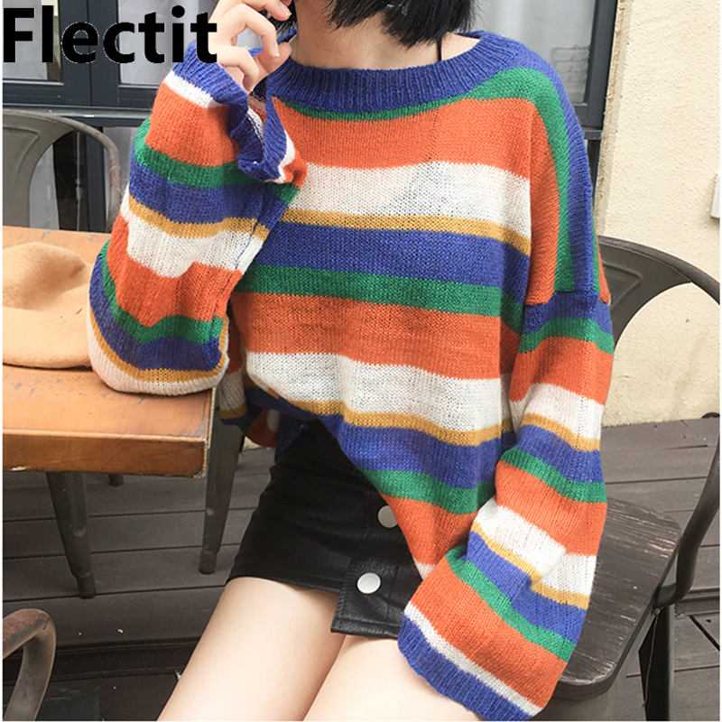 Flectit Women Rainbow Stripes Jumper Thin Sheer Knitted Wide Sleeve Sweater Harajuku Girls Cozy Jumper Sweater
