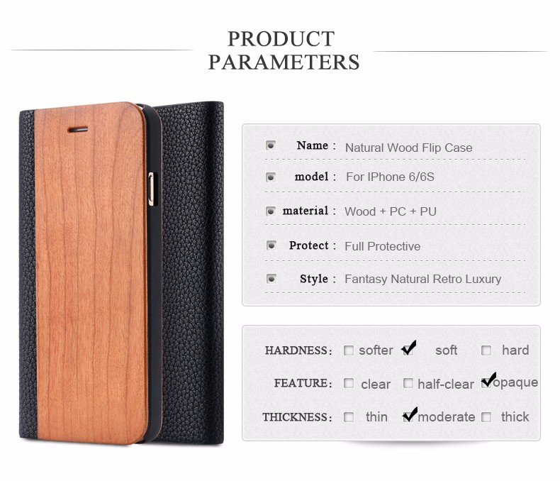 Vintage Genuine Bamboo Wood Flip Leathe Case For iPhone 6 6S Plus Real Rosewood Wooden Wallet Cover For iPhone 7 7 Plus Card Slot (2)