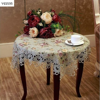 vezon Quality 130*180cm European Elegant Jacquard Lace Tablecloth Green Rural Country Table Linen Cloth Overlay Thick Fabric