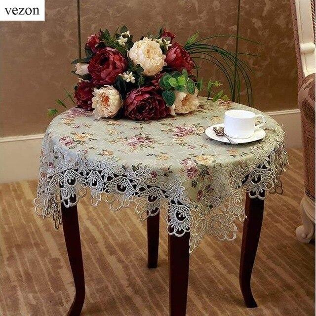 Vezon Quality 130*180cm European Elegant Jacquard Lace Tablecloth Green  Rural Country Table Linen Cloth