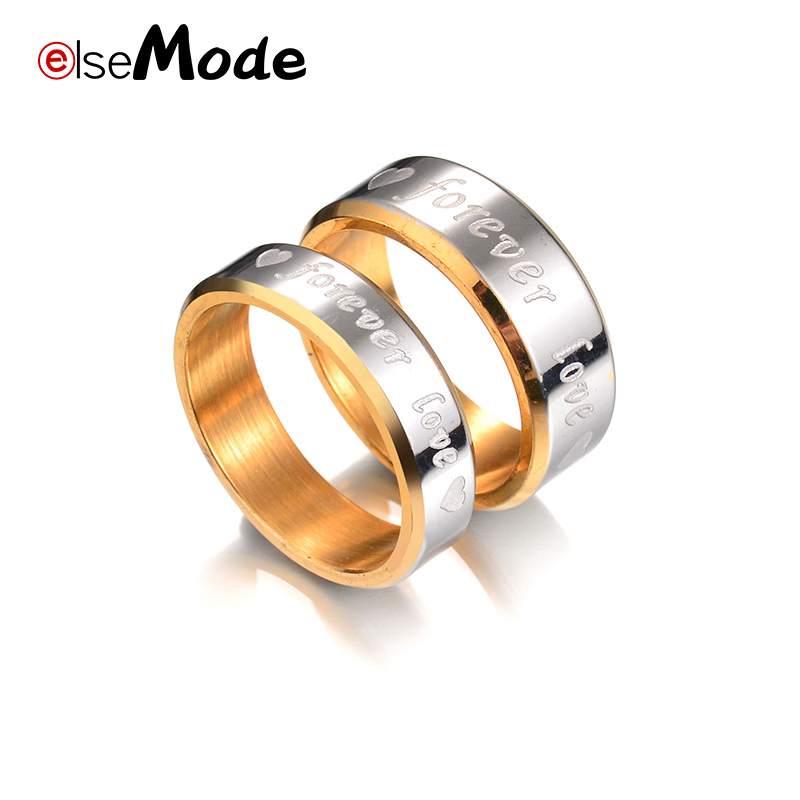 ELSEMODE Personalized Engrave Letter Forever Love Heart Promise Lover Engagement Rings for Men Women Couples Jewelry