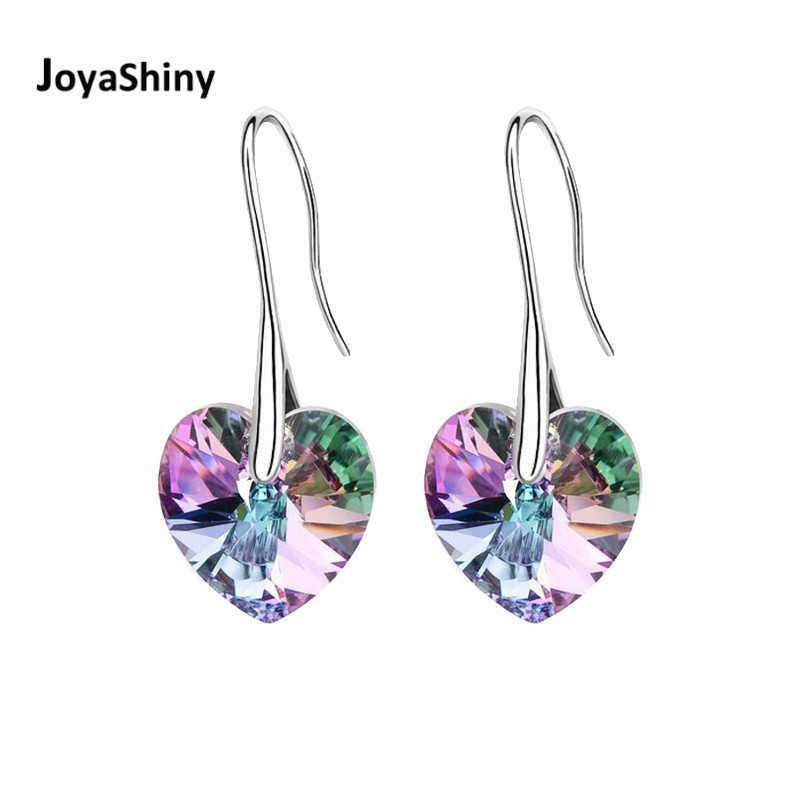 Joyashiny Crystal Heart Drop Earrings Made with Swarovski ELEMENTS Silver Color Hanging Piercing For Women Best Friends Gift