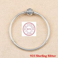 Genuine 925 Sterling Silver Snowflake Charm Pan Bracelet Bangle For Women Fit Diy Charm Bead Authentic Fine Jewelry