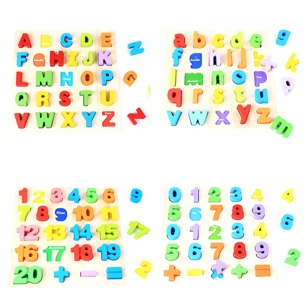2018 New Wooden Puzzle Toy Colorful English Alphabet/Number Children Jigsaw Kids Learning Educational Toys 39 29cm large puzzle wooden toys russian alphabet puzzles toys for children alphabet grasp board kids educational developing toy