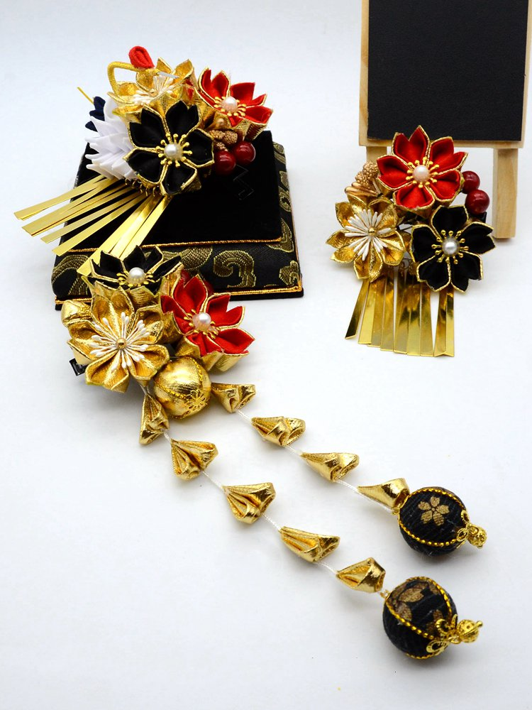 Japanese Handmade Ornaments Cosplay Accessory Hairpin Classical Red Headdress Party Wedding Accessory