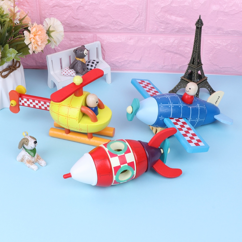 New Wood Magnetic Rockets/Plane/Helicopter Toy Transportation Educational Toy