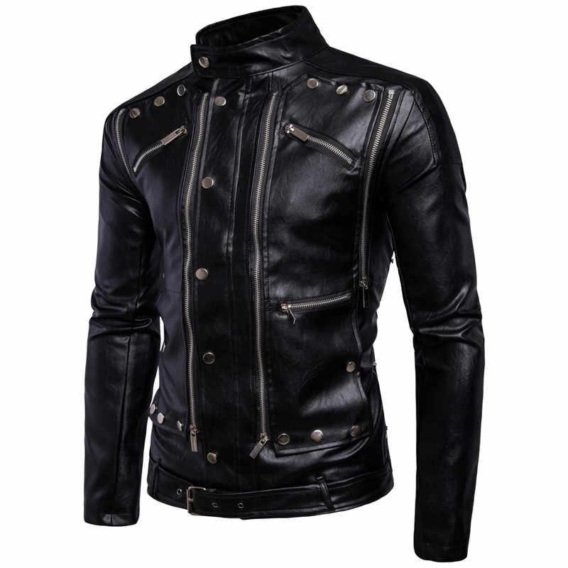 Осенняя мужская кожаная куртка тонкая однотонная мотоциклетная куртка с воротником-стойкой из искусственной кожи ветрозащитная куртка большого размера 5XL