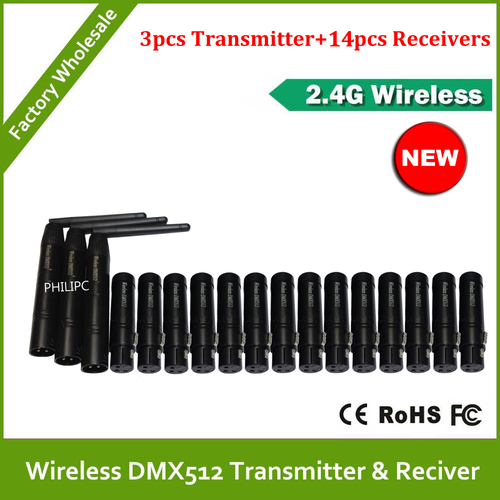 DHL Free Shipping 2.4G Wireless DMX512 signal Controller 3PCS DMX 512 Transmitter 14PCS DMX512 Receiver For Stage DJ Lighting free shipping dmx512 wireless transmitter receiver 2 4ghz xlr dmx dj repeater led stage lighting controller with lcd display