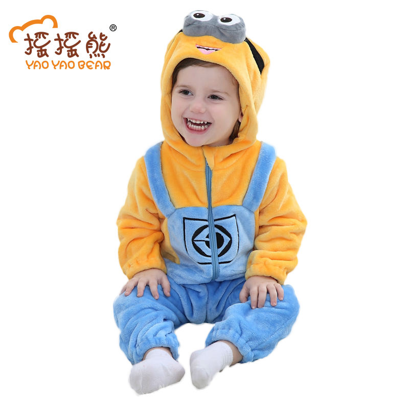 Minions Baby Romper Infant Costume 2018 New Spring Hooded Flannel Toddler Baby Clothes Infant Jumpsuit Clothing Baby Sleepwear puseky 2017 infant romper baby boys girls jumpsuit newborn bebe clothing hooded toddler baby clothes cute panda romper costumes