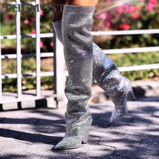 Flash diamond women's knee boots autumn and winter fashion super high with silver gray pointed female booties plus size