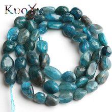 6-8 мм естественный неправильной формы Синий Апатит каменные бусины Свободные каменные разделительные бусины для самостоятельного изготов...