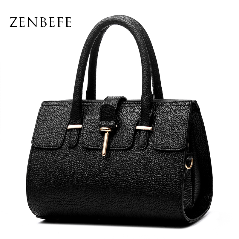 ФОТО ZENBEFE Simple Women'S Handbag PU Leather Women Shoulder Bag Fashion Women Bag Lady Daily Bag Clutch Messenger Bags Female Bolsa