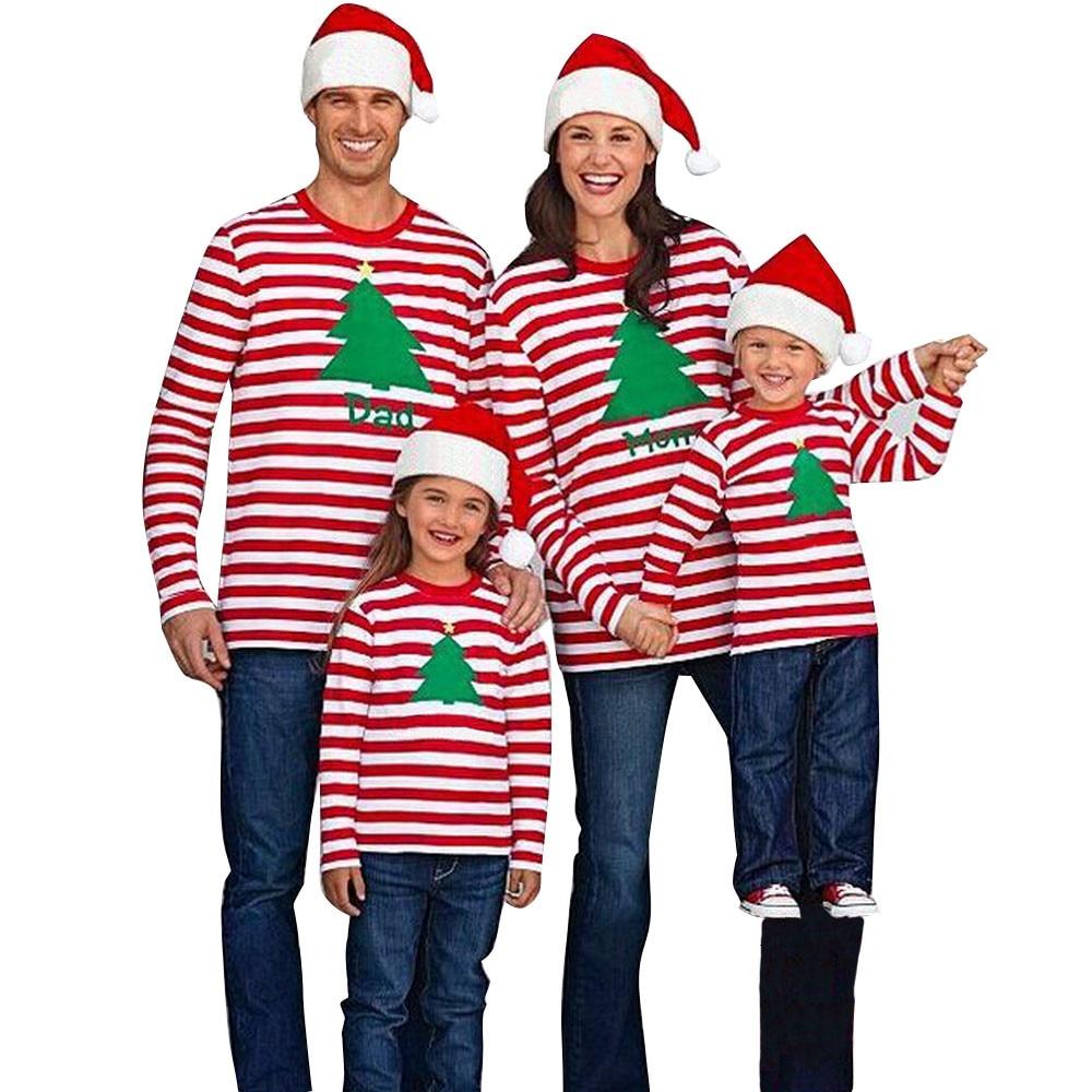 2017 christmas family xmas christmas top striped printed