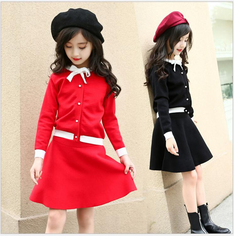 Baby Girls Sets Spring Autumn Red Black Knitted Suits Cute Bow Long Sleeve Sweater + Skirts 2Pcs Suits Children Clothes Set bear leader girls sets 2017 new autumn pink houndstooth knitted suits long sleeve plaid sweater skit 2pcs kids suits for 3 7y