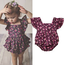 US Stock 0-24M Newborn Baby Girl Flower Ruffle Romper Jumpsuit Overall Outfits Summer Clothes