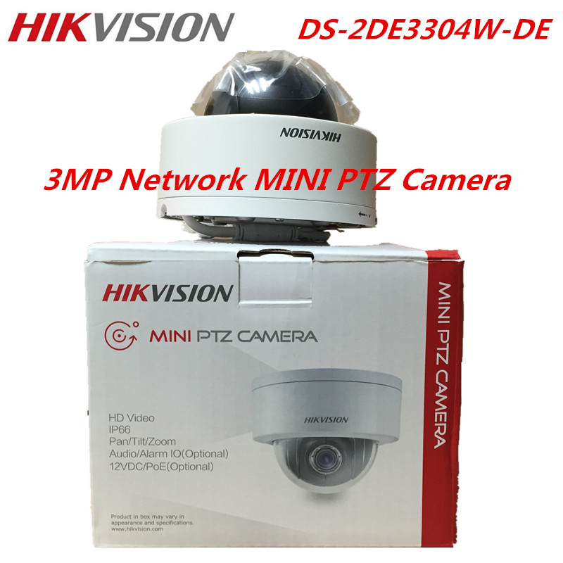 DHL FreeShipping Hikvision Original English Version DS-2DE3304W-DE 3MP Network Mini PTZ IP Camera 4X Zoom IP66 PoE Security CCTV hikvision ds 2de3304w de english version 1080p mini ptz ip camera 2 8mm 12mm 4x zoom support ezviz outdoor poe security camera