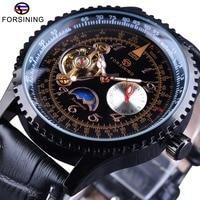 Forsining Tourbillion Moonphase Design Genuine Leather Strap Men Automatic Watches The Best Luxury Brand Mechanical Watch Clock