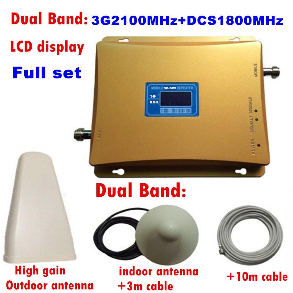 Amplificateur de Signal Mobile DCS 1800 mhz 3G WCDMA UMTS 2100 mhz répéteur de téléphone portable 65dB amplificateur Celluar à double bande d'affichage à cristaux liquides 2G 3G 4G