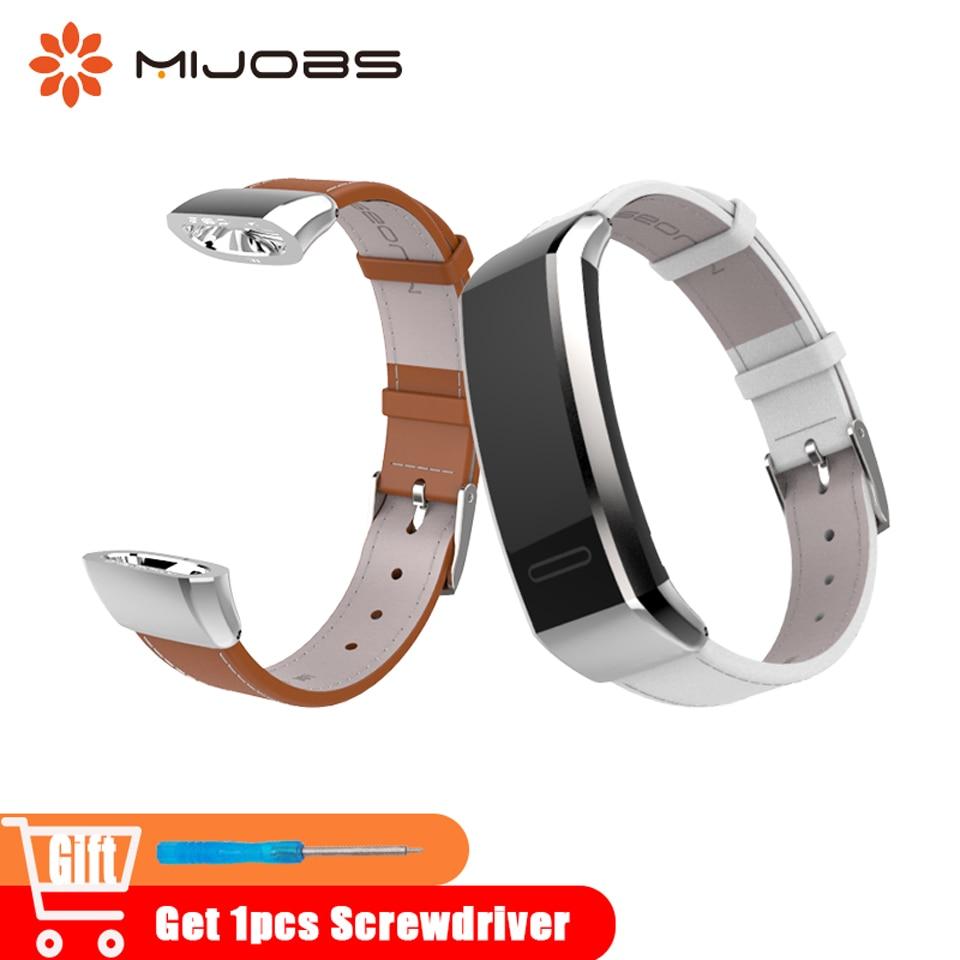 Mijobs Véritable Bracelet En Cuir pour Huawei Bande 2 pro B19 B29 Sport Poignet Montres Bracelet pour Huawei Montre 2 Bande bracelet à puce