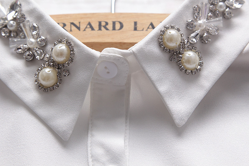 Korean Crystal Detachable Fake CollarHigh Grade Big Pearls Faux Cols Chiffon Ladies False Collar Elegant Nep Kraagje Broderie
