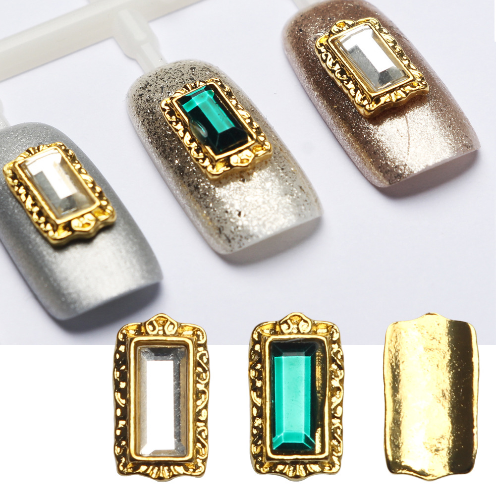 Beautiful glass ornaments - New Nail Art Decorations Rectangle Alloy Glass Crystal Gems Curved Arc Back Diy Manicure Clear Green Ornaments Beauty 2017 Hot