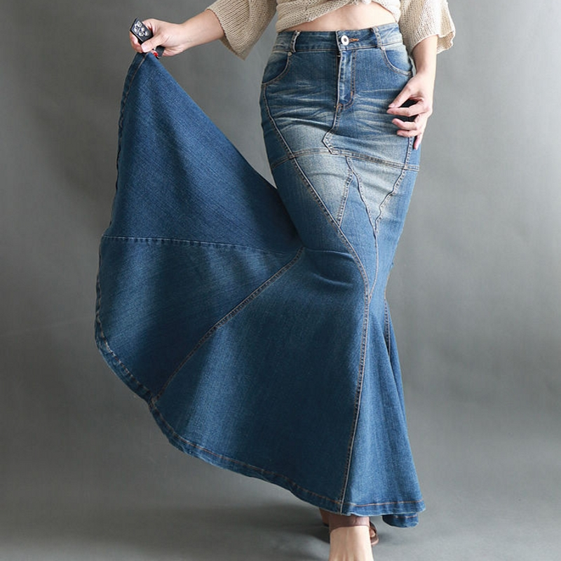 Big Fish Tail Denim Skirt Women Long Skirt Floor-Length Patchwork Mermaid Trumpet Empire High Waist Jeans Stretchy J92792