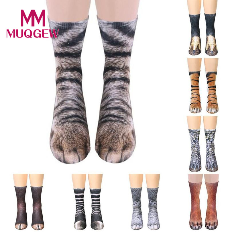 Dropshipping 3D animal socks funny for Men Adult Animal Paw Crew Socks Sublimated Print Medium men socks 2018 New sokken heren ...