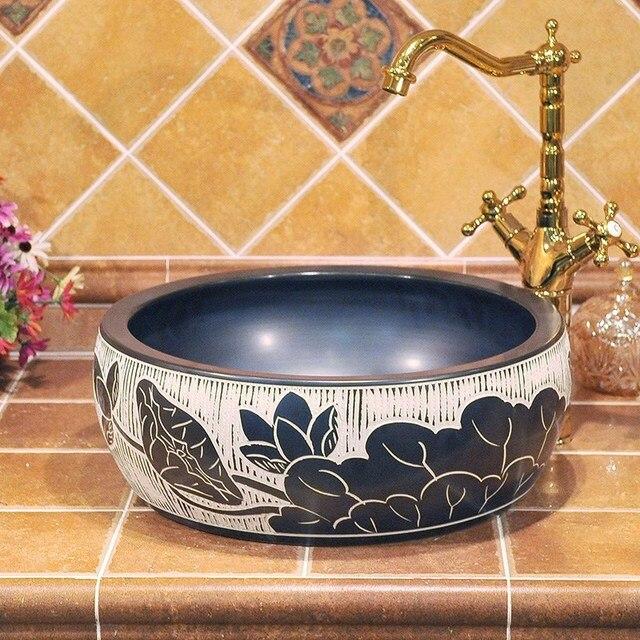 Home U0026 Hotel Decor Artistic China Wash Basin Ceramic Art Bathroom Vessel  Sinks Round Counter Top