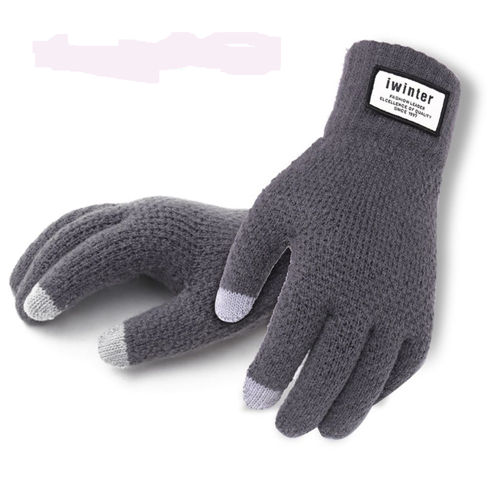 Winter Autumn Men Knitted Gloves Touch Screen High Quality Male Thicken Warm Wool Cashmere Solid Gloves Men Mitten Business(China)